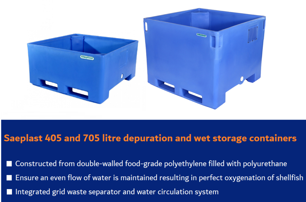 Saeplast 405 and 705 from GW Containers. Depuration containers for shellfish